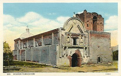 This page is an exhibit of vintage postcards featuring Tumacacori National Historical Park in souther Arizona.